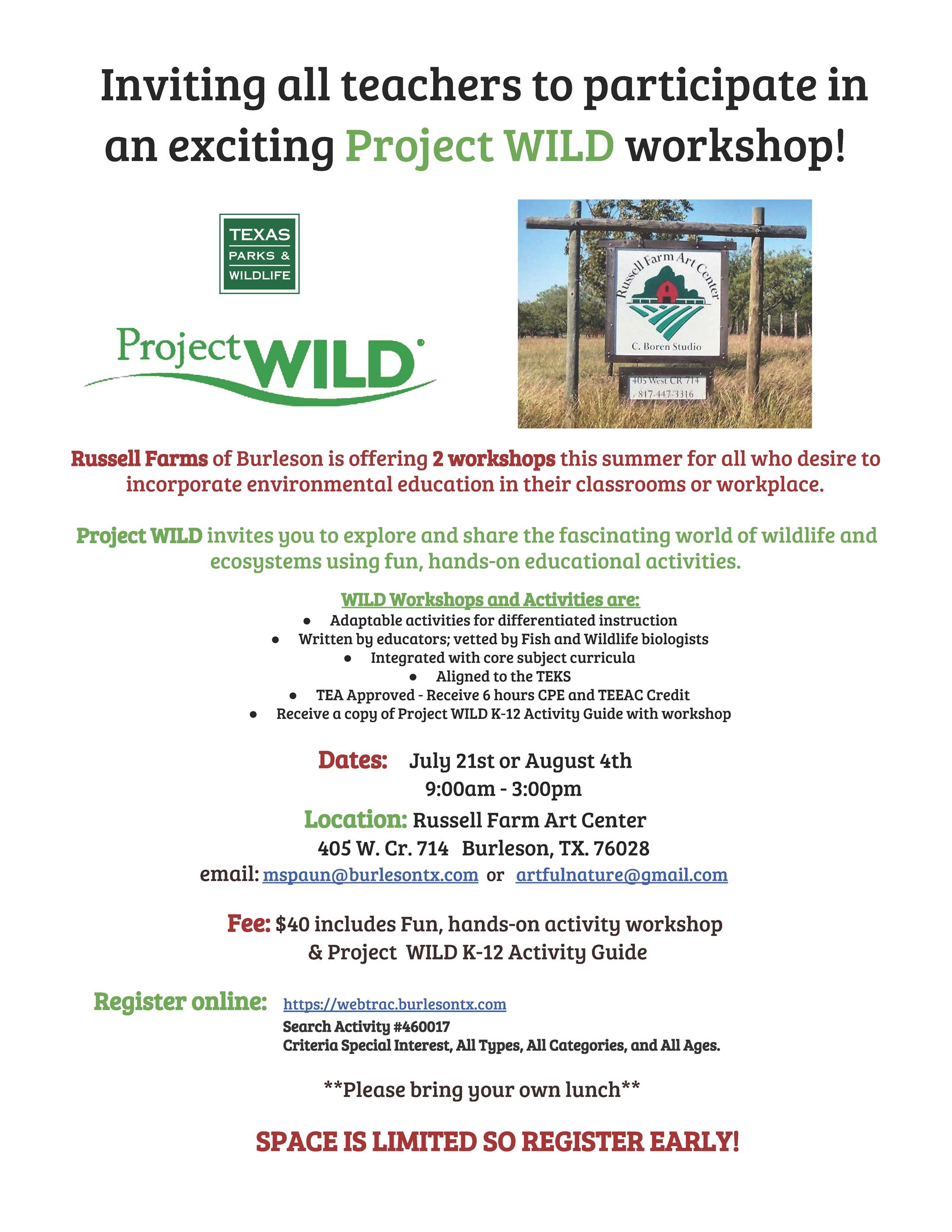 Project WILD flier Summer 2018
