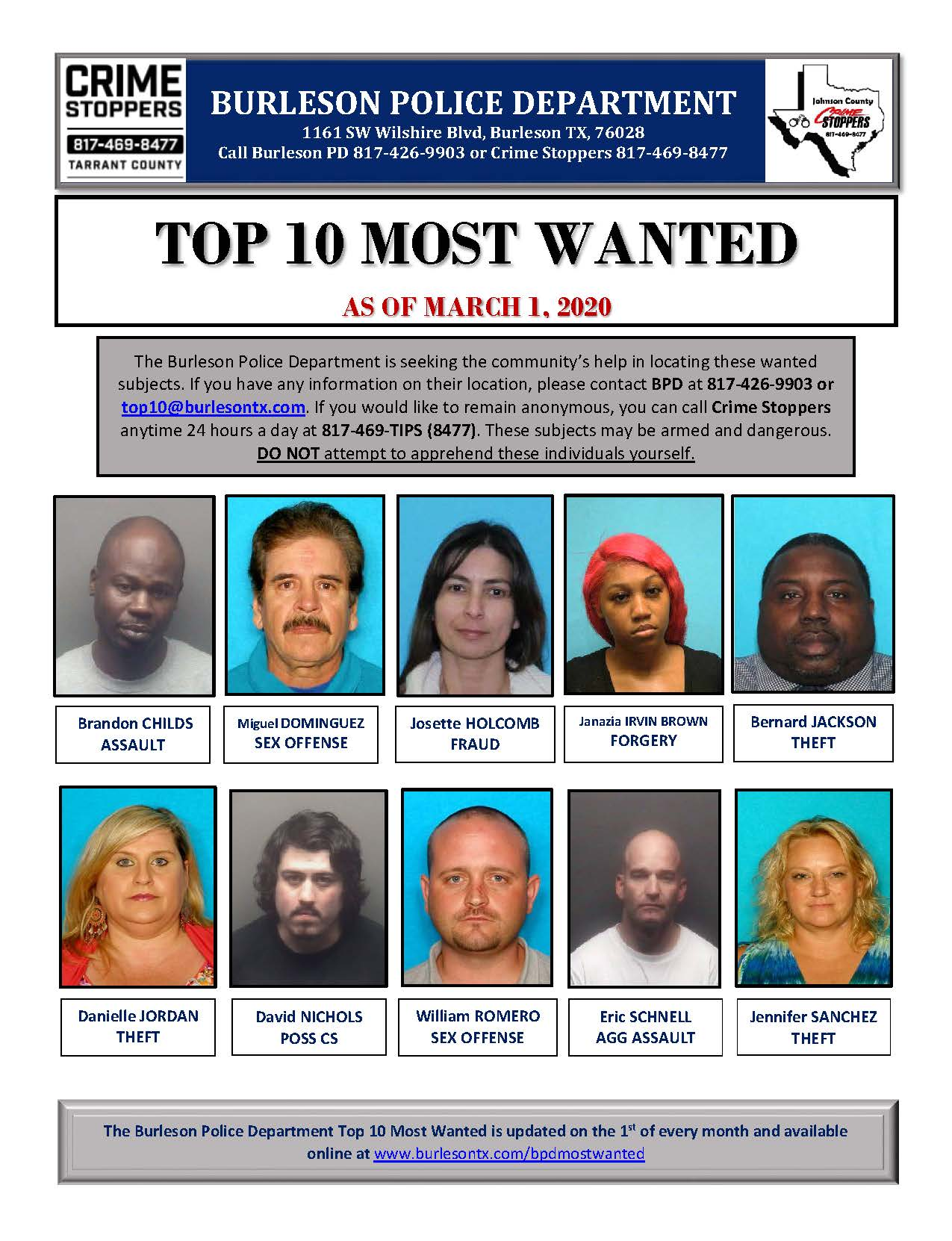 Burleson Top Ten Most Wanted March 2020
