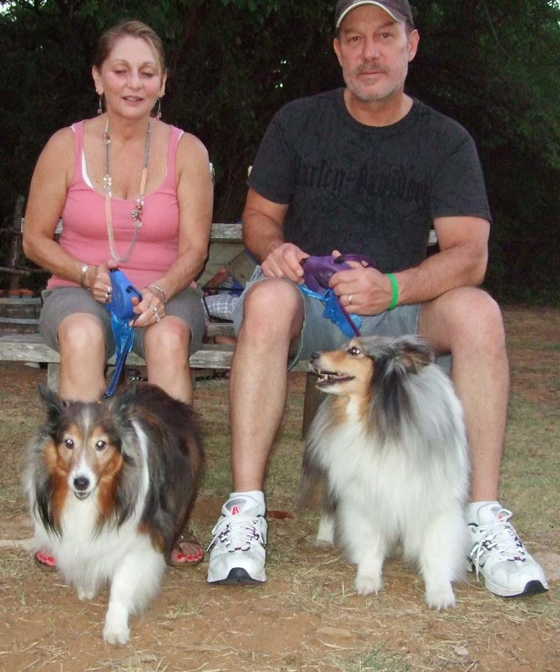 Photo of Shelties and couple-Yappy Hour at Lone Oak Winery